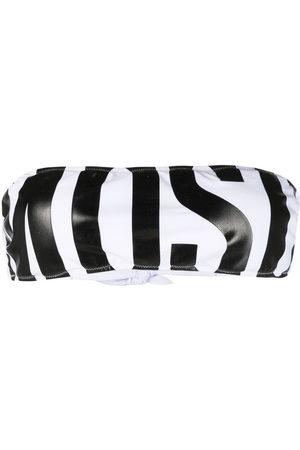 Moschino Logo-print bandeau bikini top