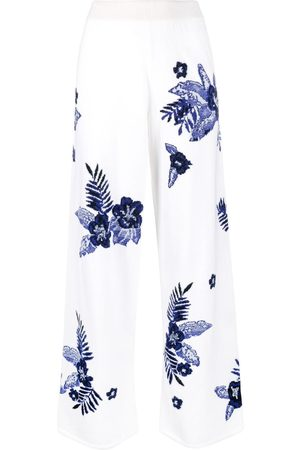 Barrie Wide-leg print trousers