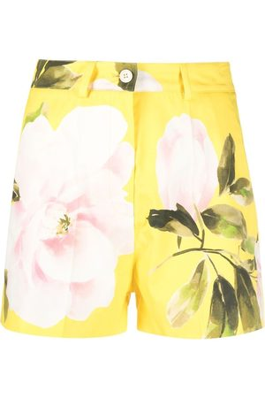 VALENTINO Damen Shorts - Rose-print tailored shorts