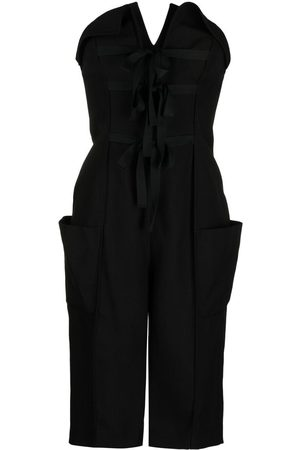 Serafini Lace-up detail strapless playsuit