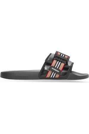 Burberry Herren Clogs & Pantoletten - Icon Stripe buckled slides
