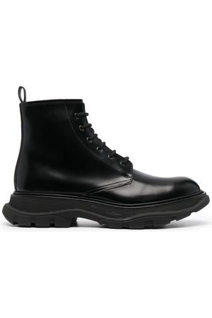 Alexander McQueen Herren Stiefel - Lace-up leather ankle boots