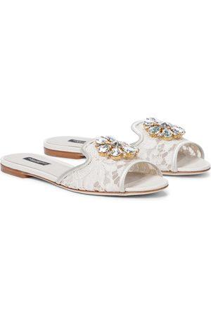 Dolce & Gabbana Verzierte Pantoletten Bianca aus Spitze