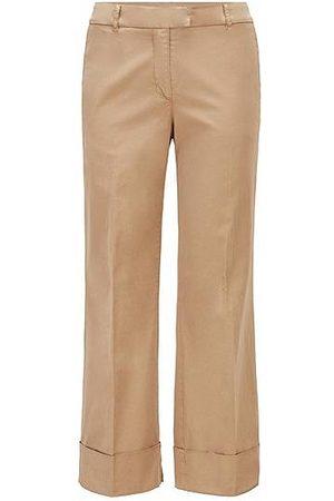 HUGO BOSS Damen Chinos - Regular-Fit Chino aus elastischer Bio-Baumwolle mit weitem Beinverlauf