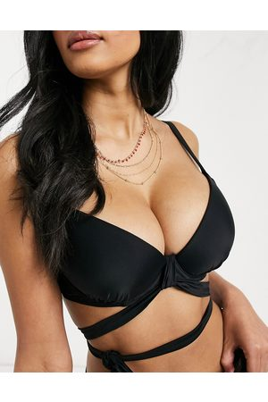 Ivory Rose Fuller Bust mix and match wrap around bikini top in black