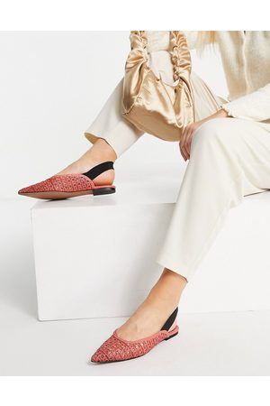 ASOS Louie woven slingback ballet flats in red