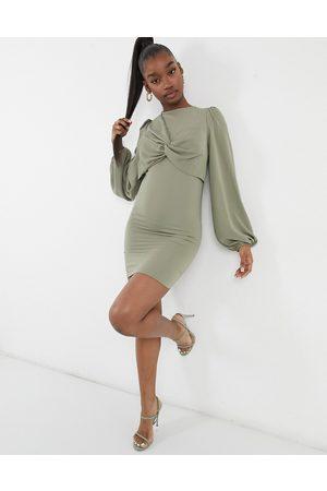 ASOS Twist front mini dress in pale khaki-Green