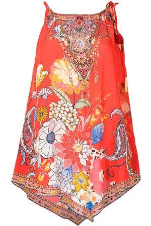 Camilla Paisley-print handkerchief-hem blouse