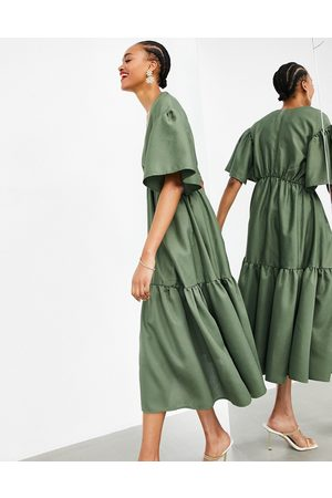 ASOS Wrap tiered textured midi dress in olive green