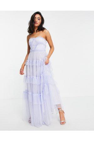 Needle & Thread Caroline maxi dress with ruffles in blue gingham