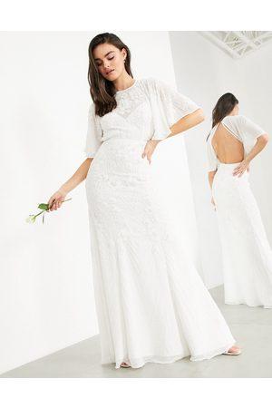 ASOS Gabriella vintage embellished wedding dress with flutter sleeve-White