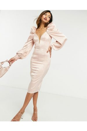 ASOS Long sleeve quilted satin plunge wired bodycon midi dress in pale pink