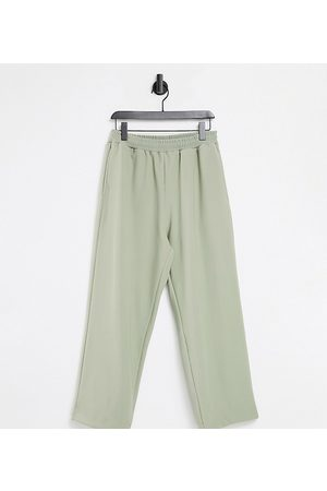 COLLUSION Unisex 90's dad wide leg joggers in rib fabric in stone co-ord-Neutral
