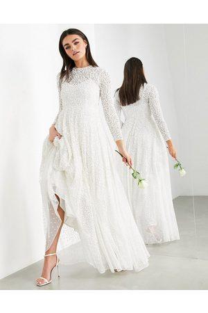 ASOS Dominique embellished wedding dress with full skirt-White