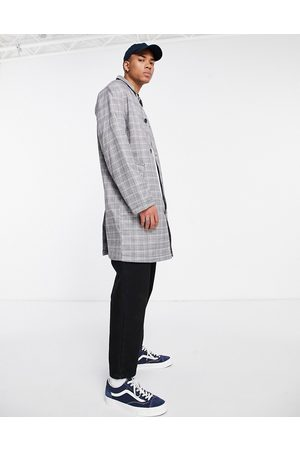 ASOS Single breasted trench coat in grey check