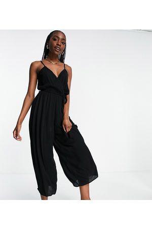 ASOS ASOS DESIGN petite wrap front cami culotte trim jumpsuit in black