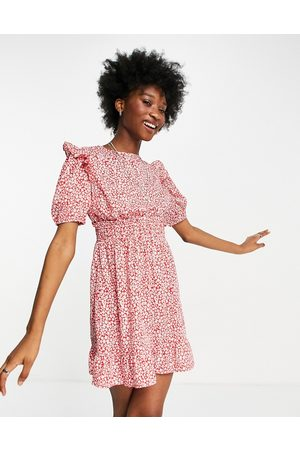 Influence Frill front mini dress in red ditsy floral