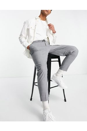ASOS Tapered pleat smart jogger in cross hatch-Grey