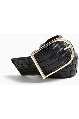 Topshop Wide weave belt in black