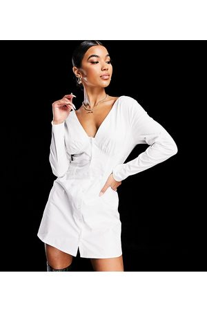 AsYou Button down off shoulder dress in white