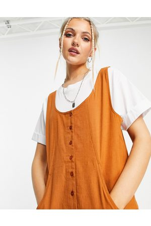 ASOS Button front linen minimal chuck on jumpsuit in brown