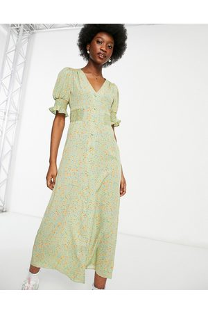 ASOS Button through midi tea dress with shirred sides in sage floral-Multi
