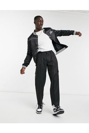ASOS Cargo oversized tapered smart trousers in black