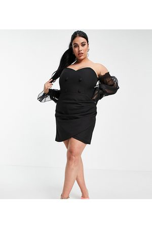 Lavish Alice Off shoulder sheer volume sleeve mini wrap detail tux dress in black