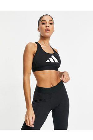 adidas Adidas Training 3 bar logo racer back medium support sports bra in black