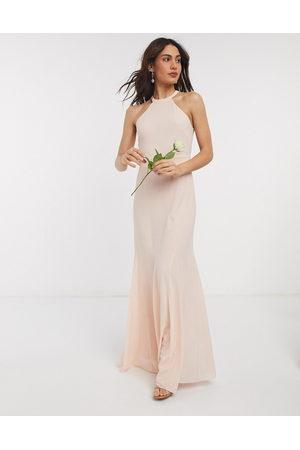 TFNC Bridesmaid high neck maxi dress in light blush-Cream