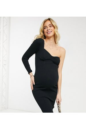 ASOS ASOS DESIGN Maternity one shoulder long sleeve rib midi dress with cup detail in black