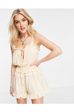 ASOS Lace insert dobby strappy playsuit in peach