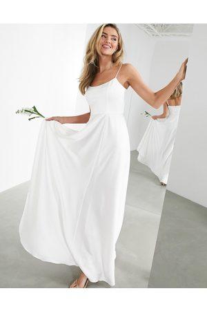 ASOS Rosie satin cami wedding dress with square neck-White