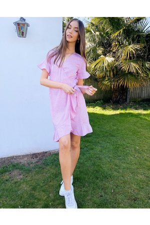 Vero Moda Wrap frill dress in lilac ditsy floral-Purple