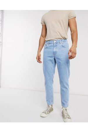 ASOS Classic rigid Jeans in light stone with elasticated waist-Blue