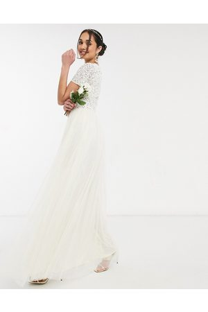 Maya Bridal v neck maxi tulle dress with tonal delicate sequin in ecru-Cream