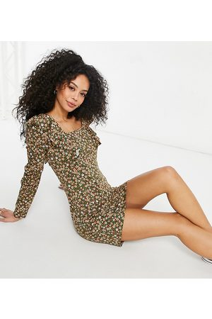 ASOS Tall mini long sleeve with frill detail dress in khaki base floral-Green