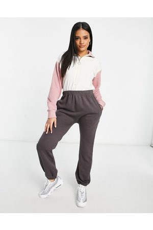 I saw it first High neck colourblock jumpsuit in charcoal and pink-Grey