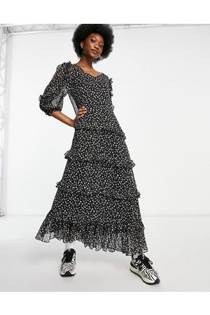 JDY Maxi dress with ruffle detail in floral print-Multi