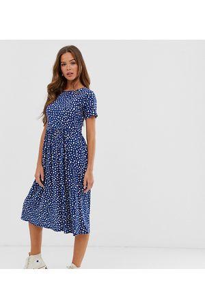 Wednesday's Girl Midi smock dress in smudge spot print