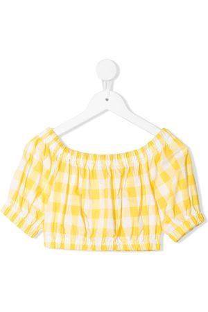 Piccola Ludo Mädchen Shirts - Gingham-gathered crop top