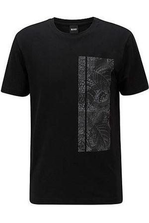 HUGO BOSS Stretch-cotton T-shirt with botanical logo artwork