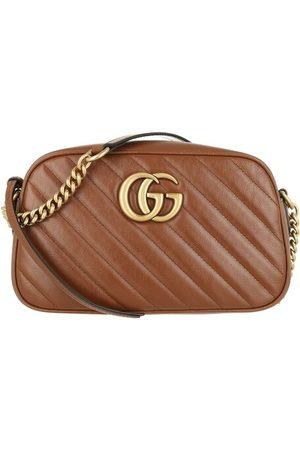 Gucci Damen Umhängetaschen - Crossbody Bags GG Marmont Small Crossbody Bag Matelassé Leather - in brown - Umhängetasche für Damen