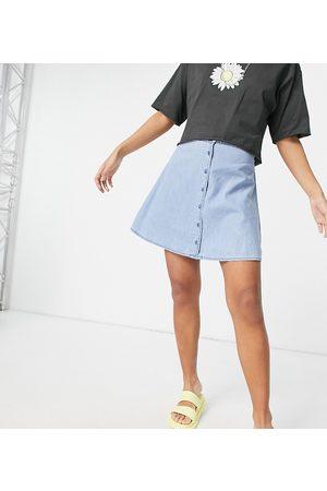 ASOS ASOS DESIGN Petite soft denim button through skirt in midwash-Blue