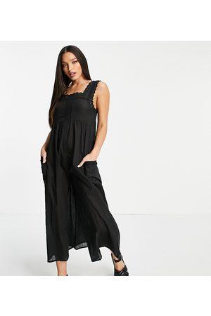 ASOS ASOS DESIGN tall broderie trim jumpsuit in black