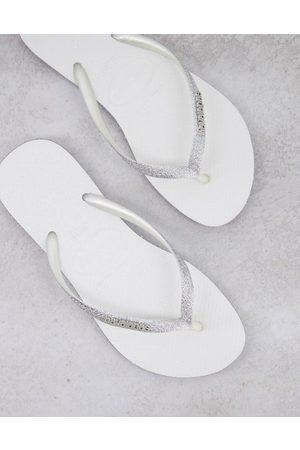 Havaianas Slim Sparkle flip flops in white