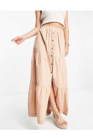 ASOS Tiered button front maxi skirt in tan-Brown