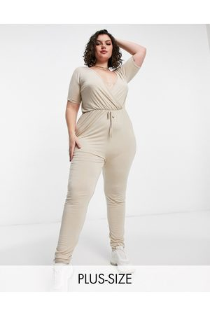 In The Style Wrap front jumpsuit in stone-Neutral