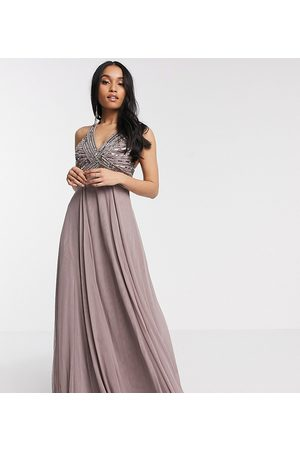 ASOS ASOS DESIGN Petite linear embellished bodice maxi dress with tulle skirt in dusty purple-Blue