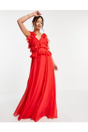 ASOS Tiered ruffle maxi dress with tie back in red-Multi